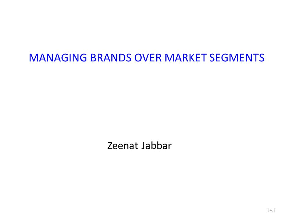 MANAGING BRANDS OVER MARKET SEGMENTS