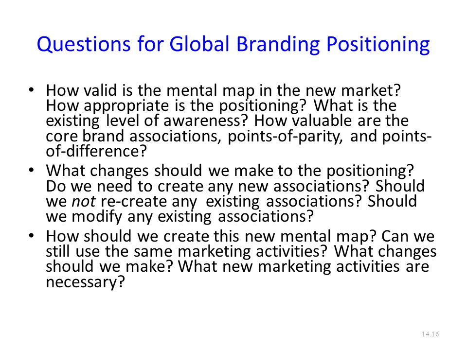 Questions for Global Branding Positioning