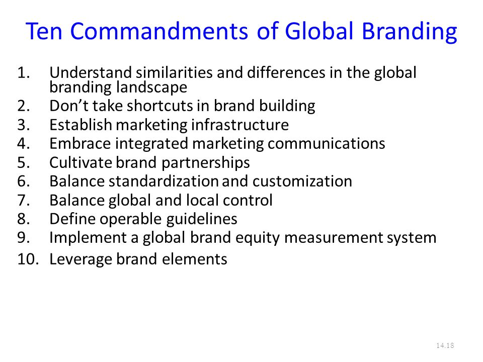 Ten Commandments of Global Branding