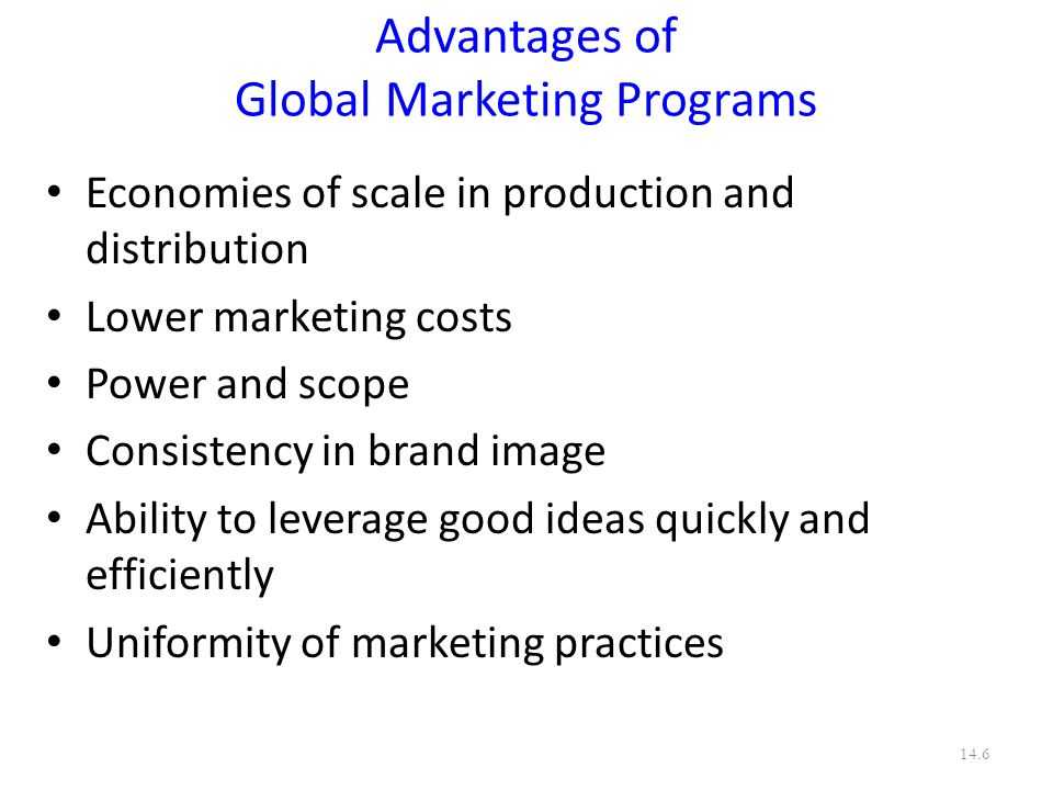 Advantages of Global Marketing Programs