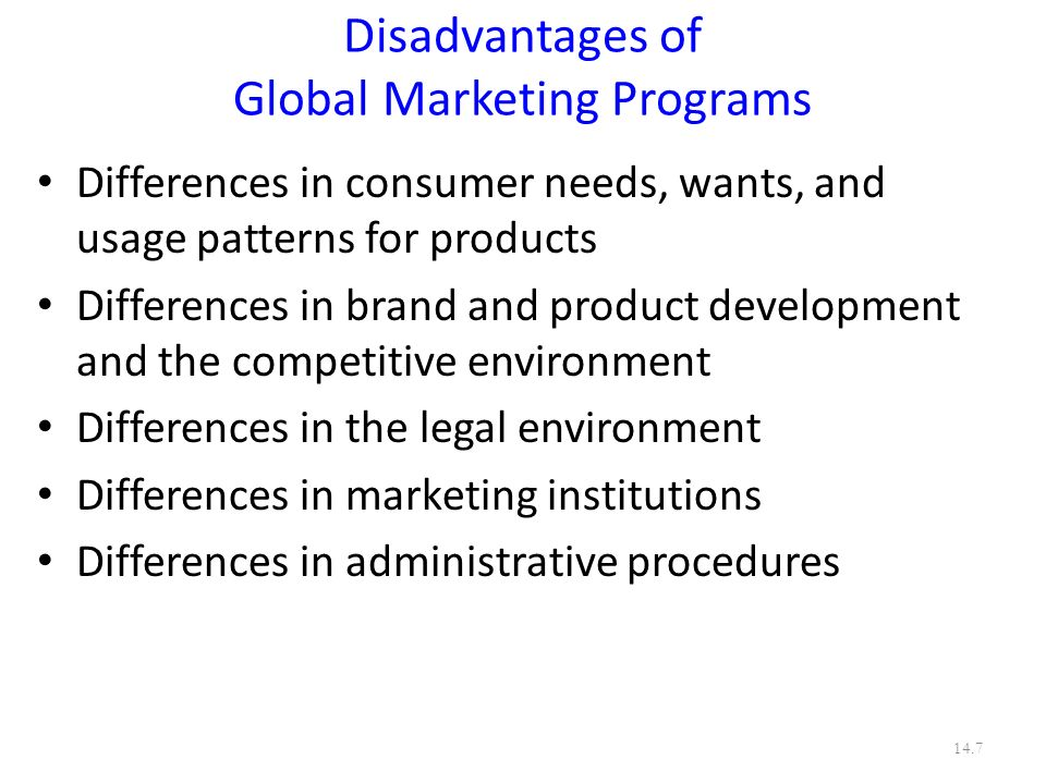 Disadvantages of Global Marketing Programs