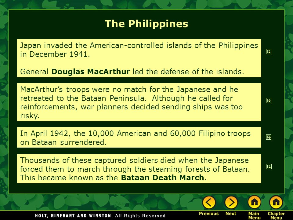 The Philippines Japan invaded the American-controlled islands of the Philippines in December