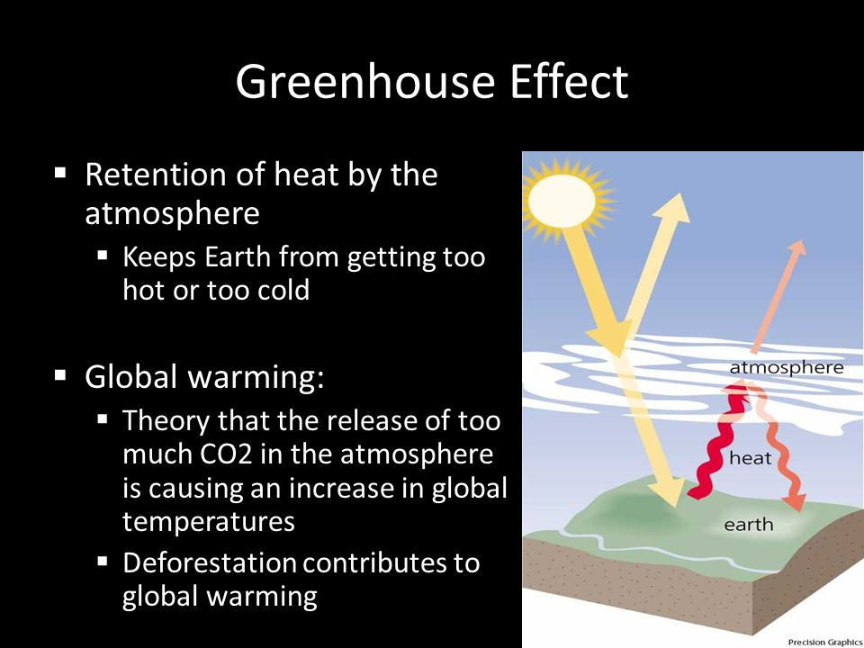 Greenhouse Effect Retention of heat by the atmosphere Global warming: