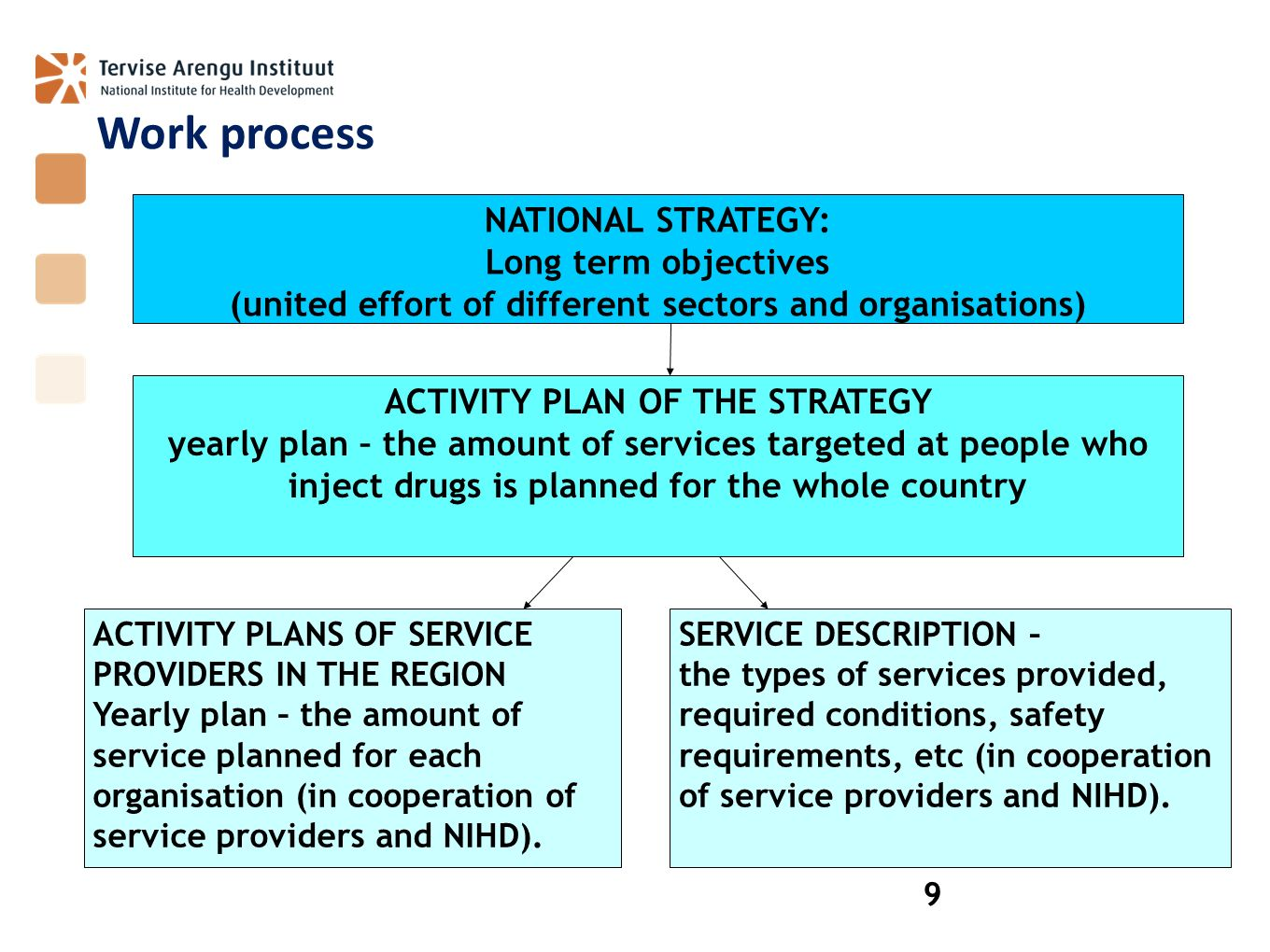 Work process NATIONAL STRATEGY: Long term objectives