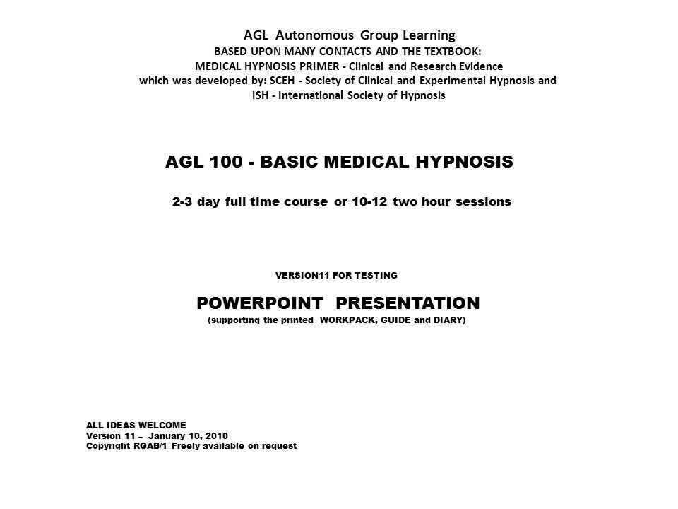 POWERPOINT PRESENTATION AGL BASIC MEDICAL HYPNOSIS - ppt