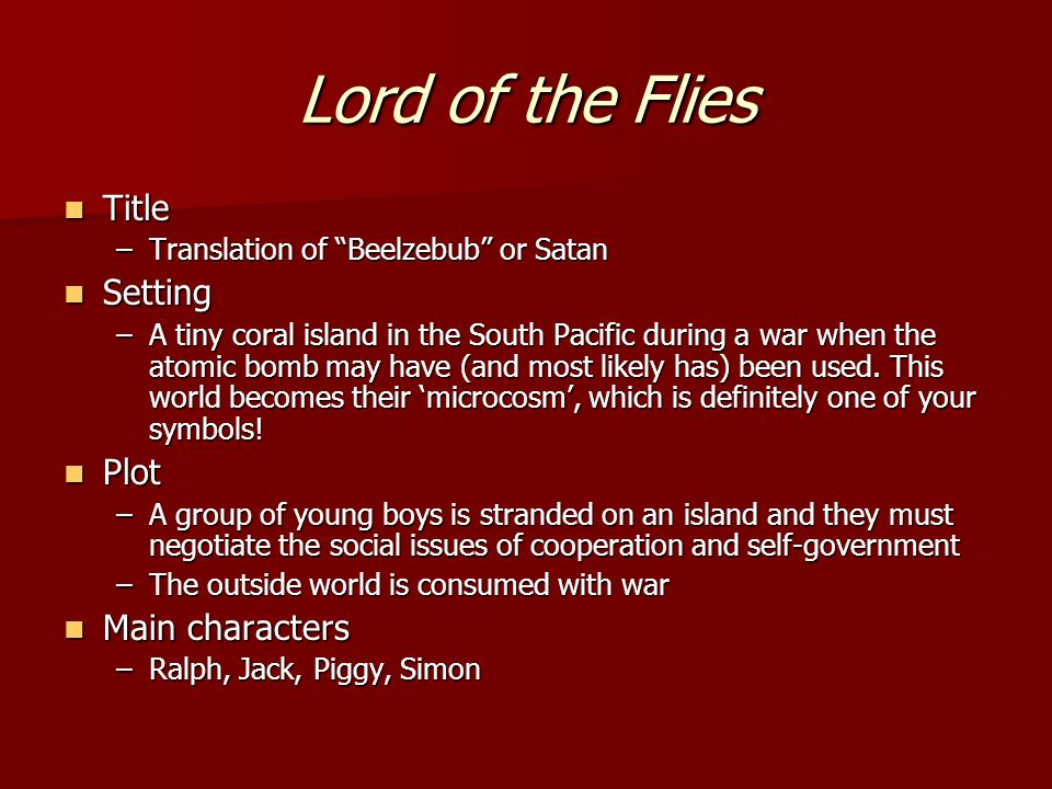 the important symbols in lord of the flies by william golding Struggling with the themes of william golding's lord of the flies we've got the quick and easy lowdown on them here.