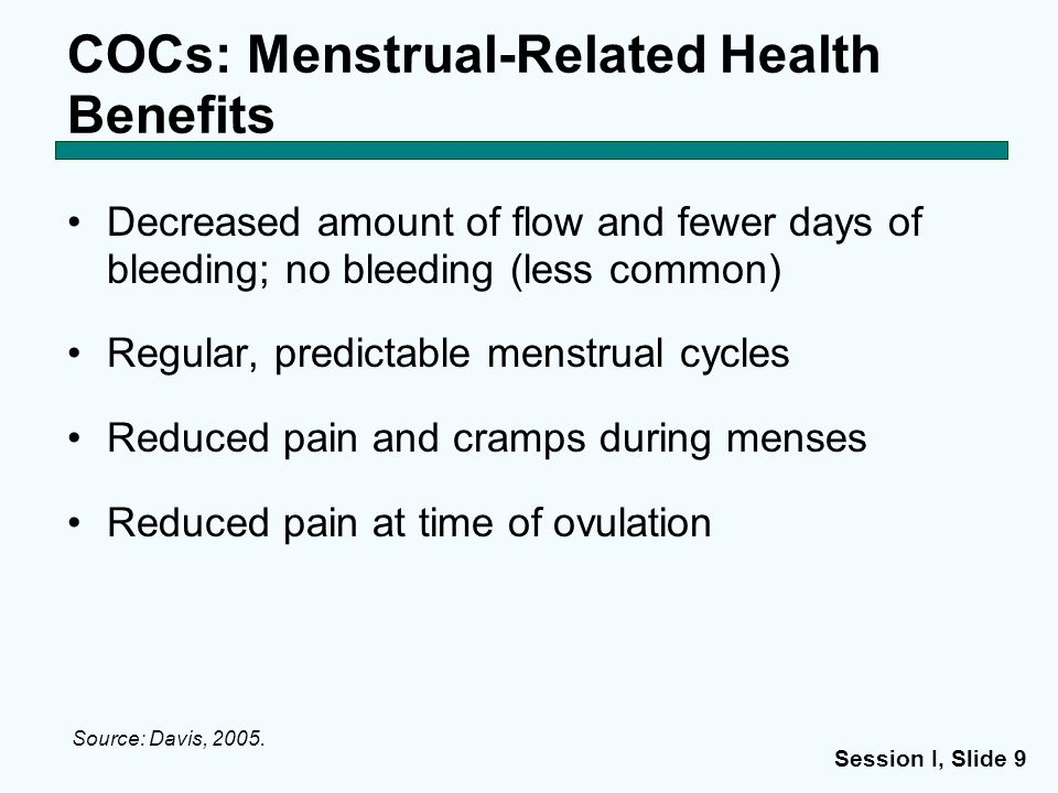 COCs: Menstrual-Related Health Benefits