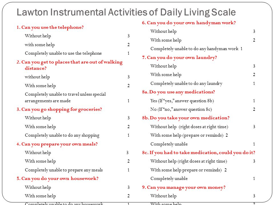 Lawton Instrumental Activities Of Daily Living Scale