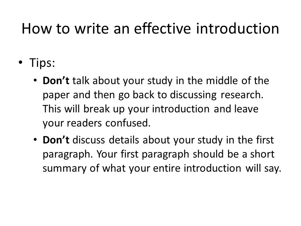 how to write an effective introduction