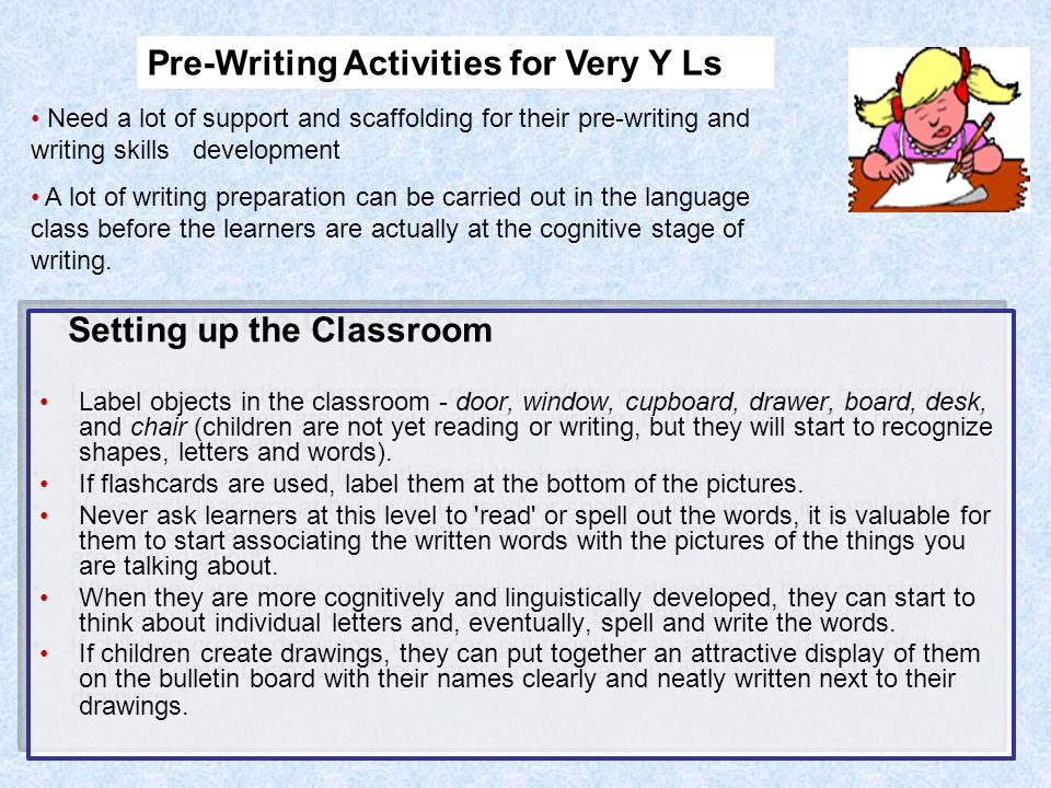teaching writing activities Teaching writing is an ongoing process, which time4learning facilitates in a number of ways most people agree that writing skills are increasingly important and often not adequately taught when writing is taught in schools, writing instruction often takes a backseat to phonics, handwriting skills, and reading comprehension.