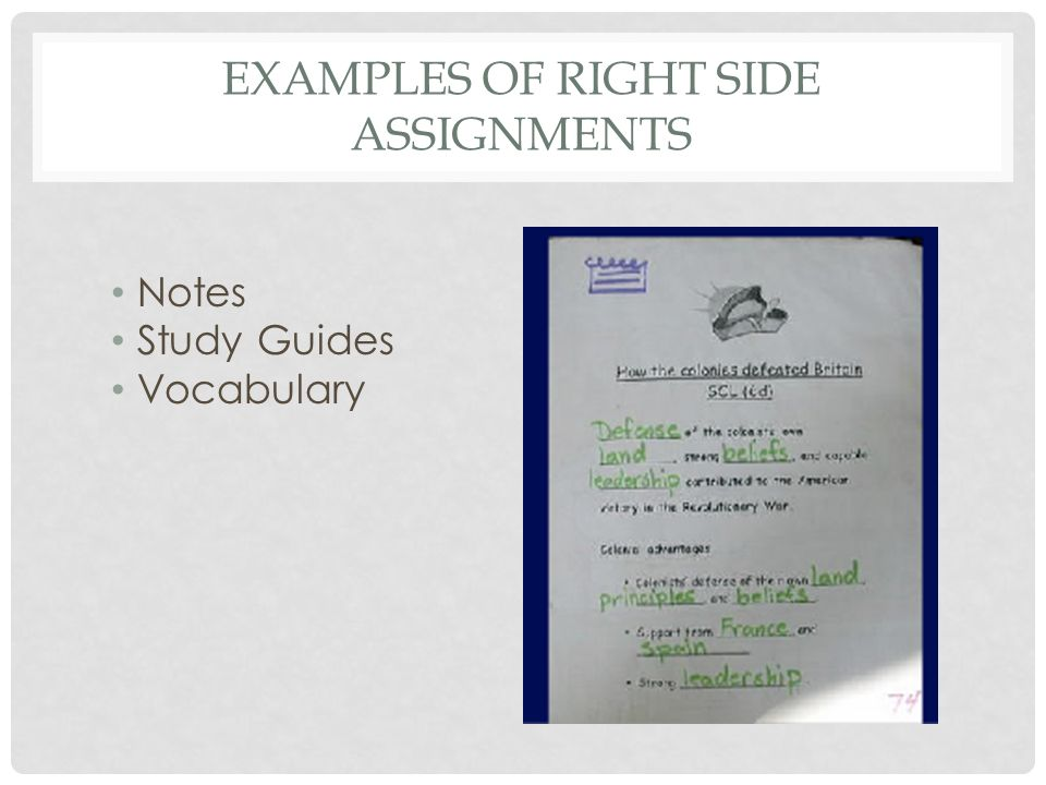 Examples of Right Side Assignments