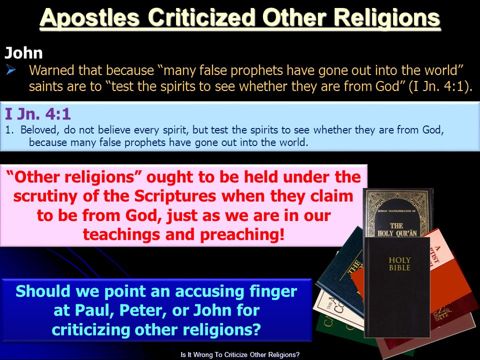 What does the bible say about criticizing others