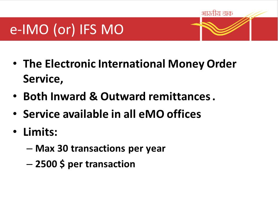 E Imo Or Ifs Mo The Electronic International Money Order Service