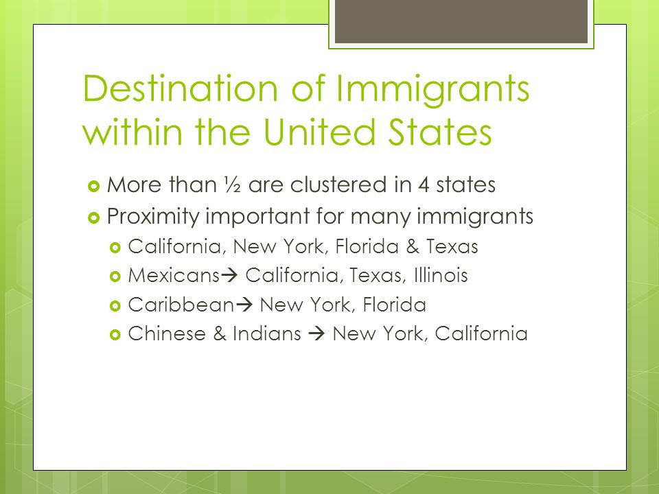 Destination of Immigrants within the United States