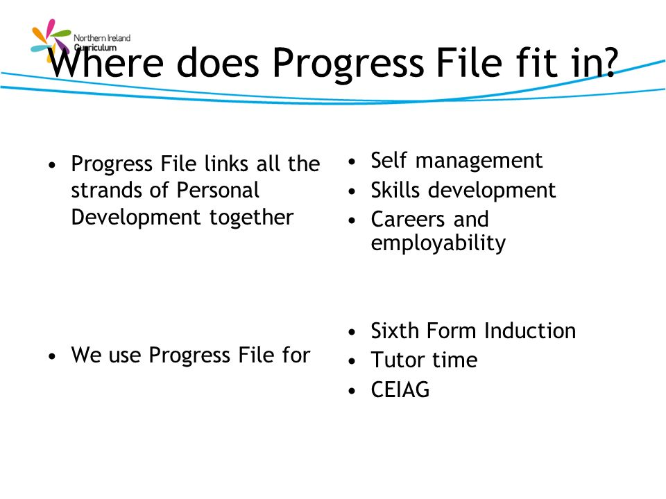 Where does Progress File fit in