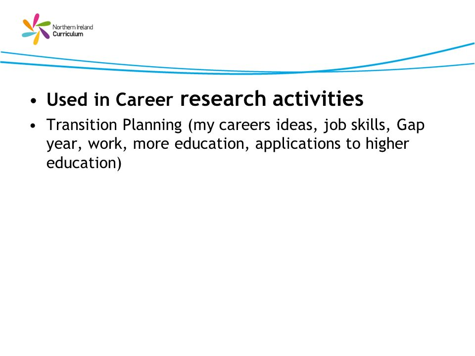 Used in Career research activities