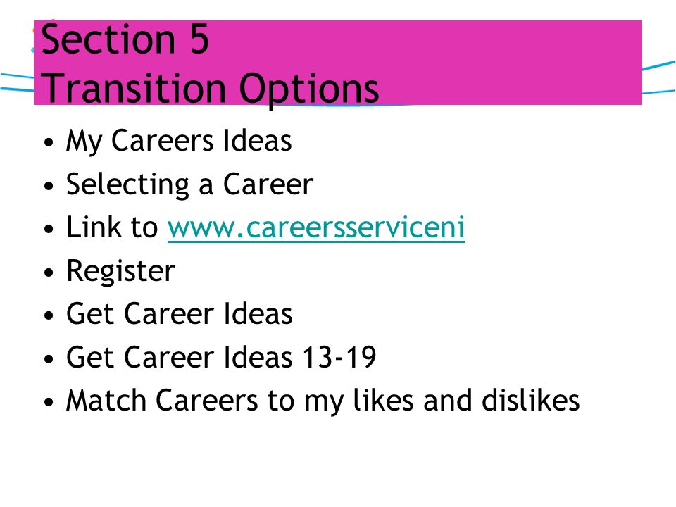 Section 5 Transition Options