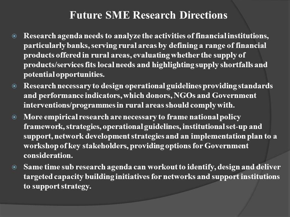Future SME Research Directions
