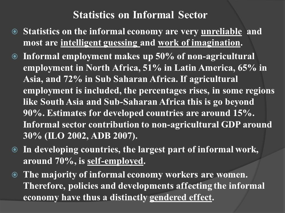 Statistics on Informal Sector