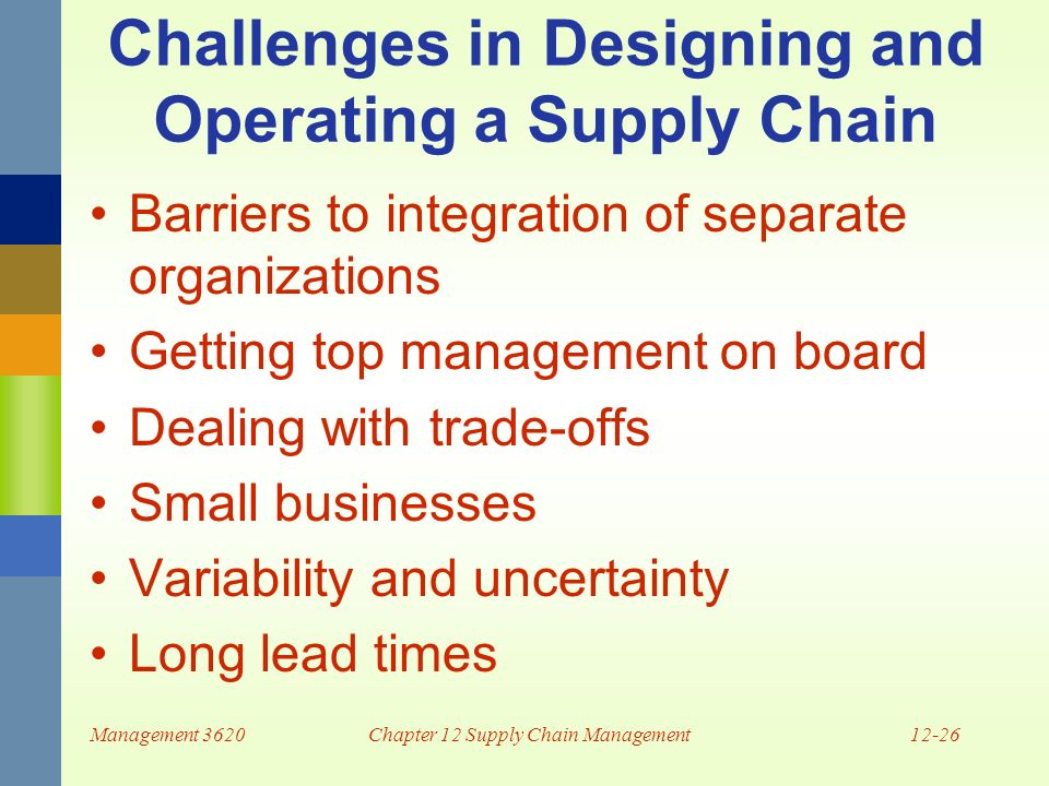 communication barriers in supply chain management Learn project management concepts using simple and precise  supply chain management  messages in this type of communication channel follow a chain of.