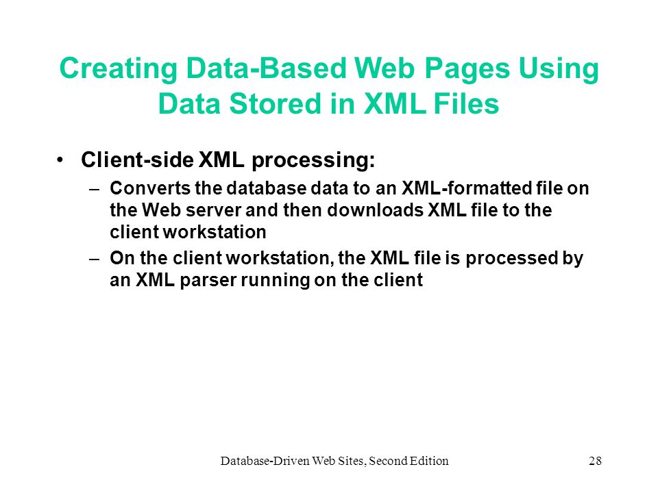 Creating Data-Based Web Pages Using Data Stored in XML Files