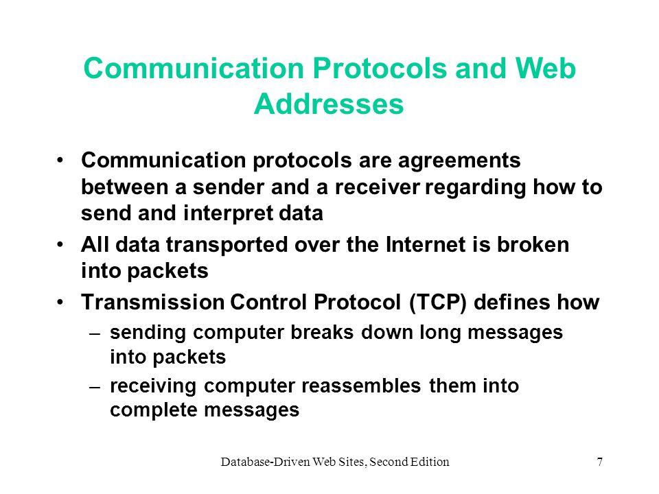 Communication Protocols and Web Addresses