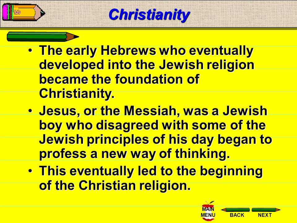 Christianity The early Hebrews who eventually developed into the Jewish religion became the foundation of Christianity.