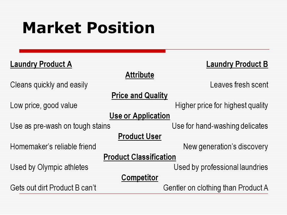 Market Position Laundry Product A Laundry Product B Attribute