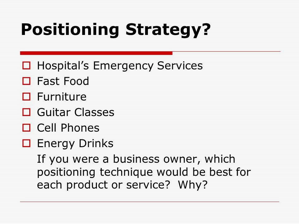 Positioning Strategy Hospital's Emergency Services Fast Food