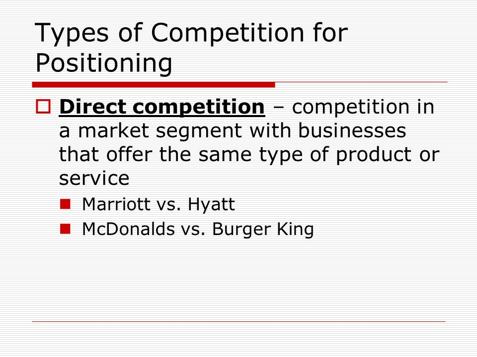 Types of Competition for Positioning