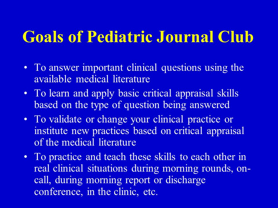 EBM Journal Club Yale Pediatrics ppt download
