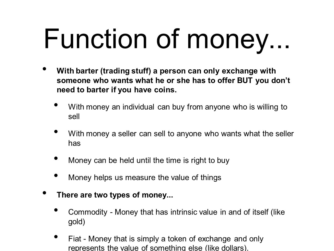 Money: functions of money. Types and functions of money 38