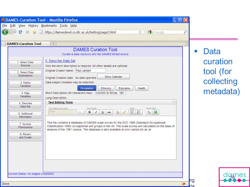 Data curation tool (for collecting metadata)