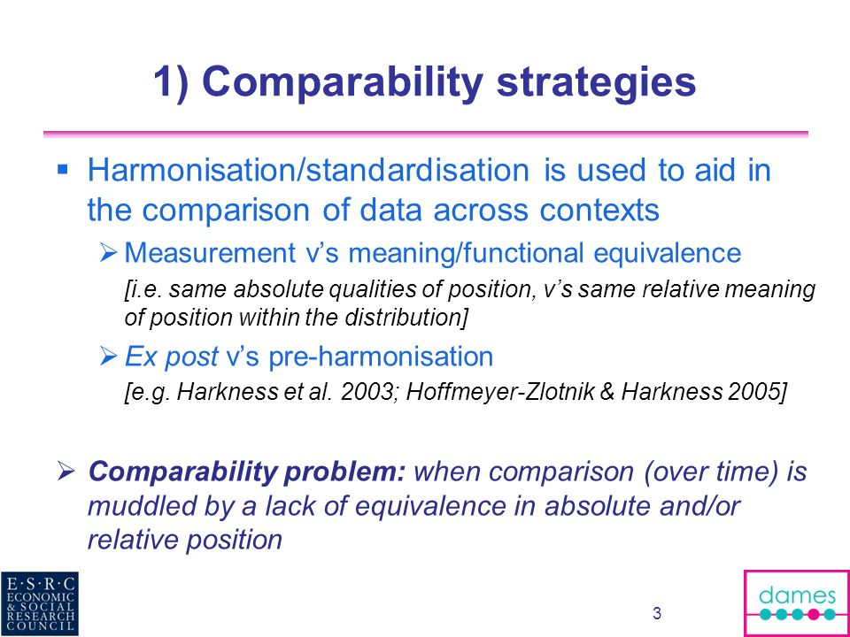 1) Comparability strategies