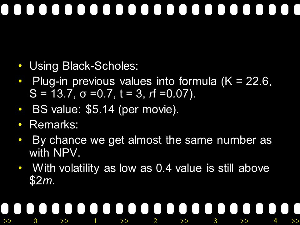 Using Black-Scholes: Plug-in previous values into formula (K = 22.6, S = 13.7, σ =0.7, t = 3, rf =0.07).