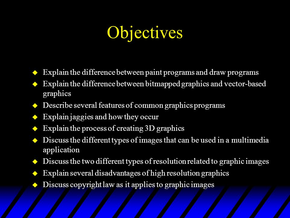 Objectives Explain the difference between paint programs and draw programs.