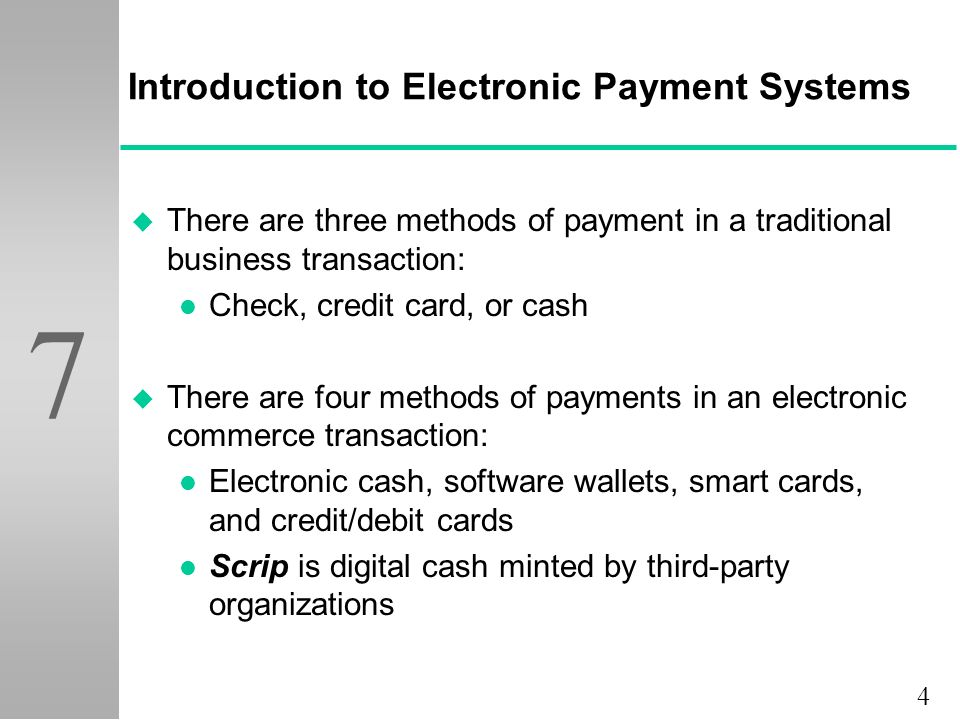 checkpoint analysis of electronic payment systems Several different kinds of electronic payment systems are in common usage some of these electronic payment systems are: credit card payment systems, micro payment systems, a digital wallet, cellphones, digital checking systems, accumulated balance digital payment systems (abdps), and systems for digital checking.