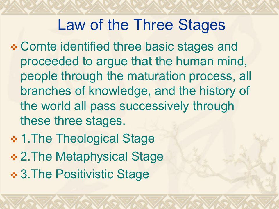 comte theological stage