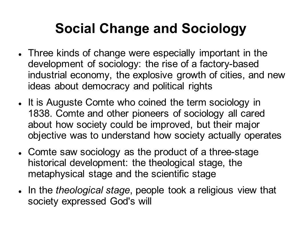 Social Change and Sociology