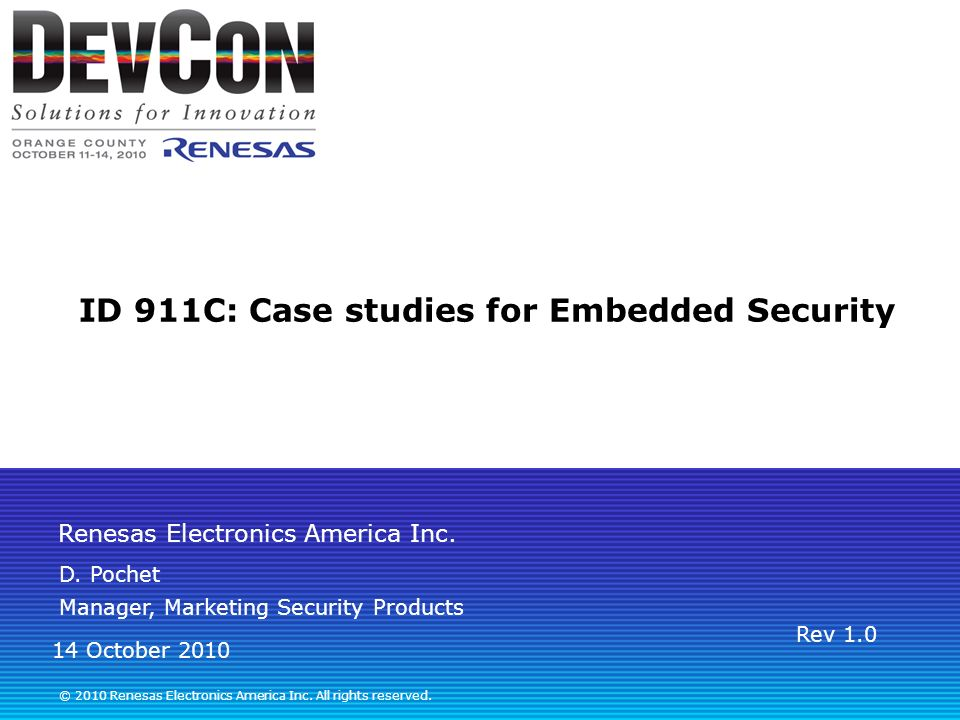 ID 911C: Case studies for Embedded Security