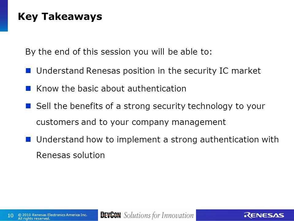 Key Takeaways By the end of this session you will be able to: