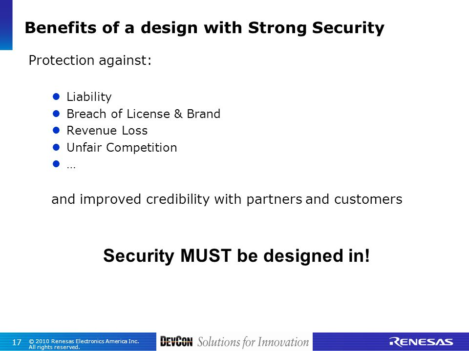 Benefits of a design with Strong Security