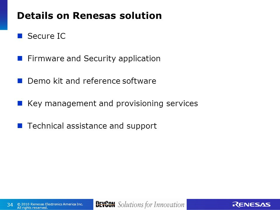 Details on Renesas solution