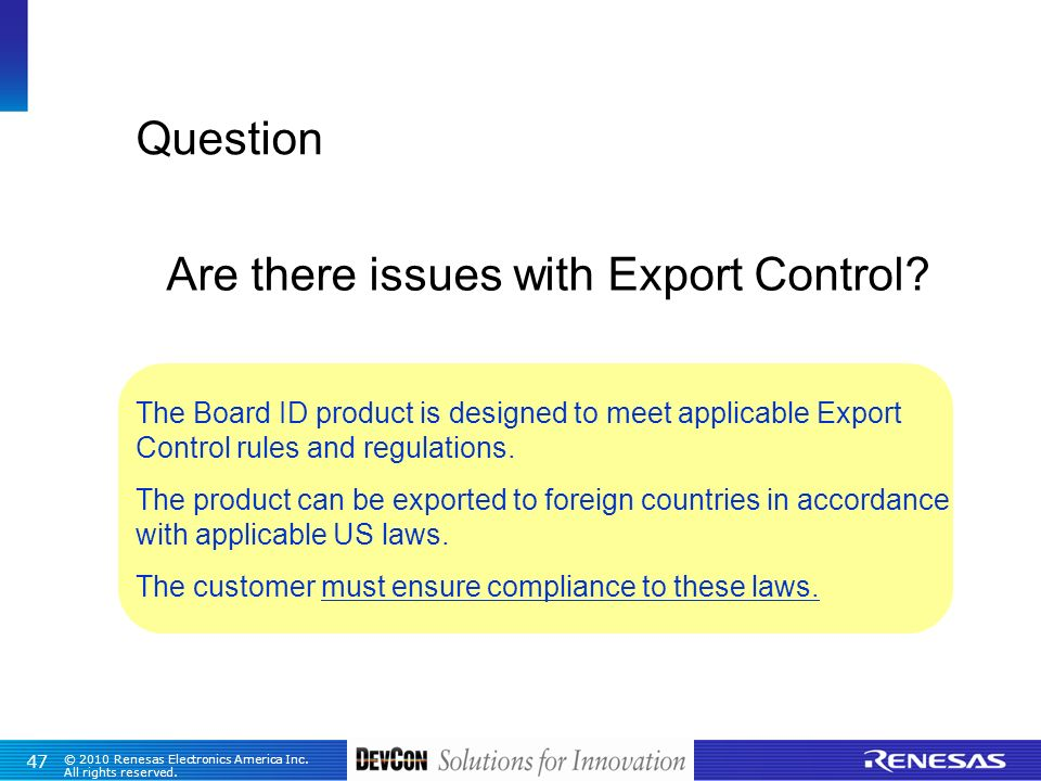 Are there issues with Export Control