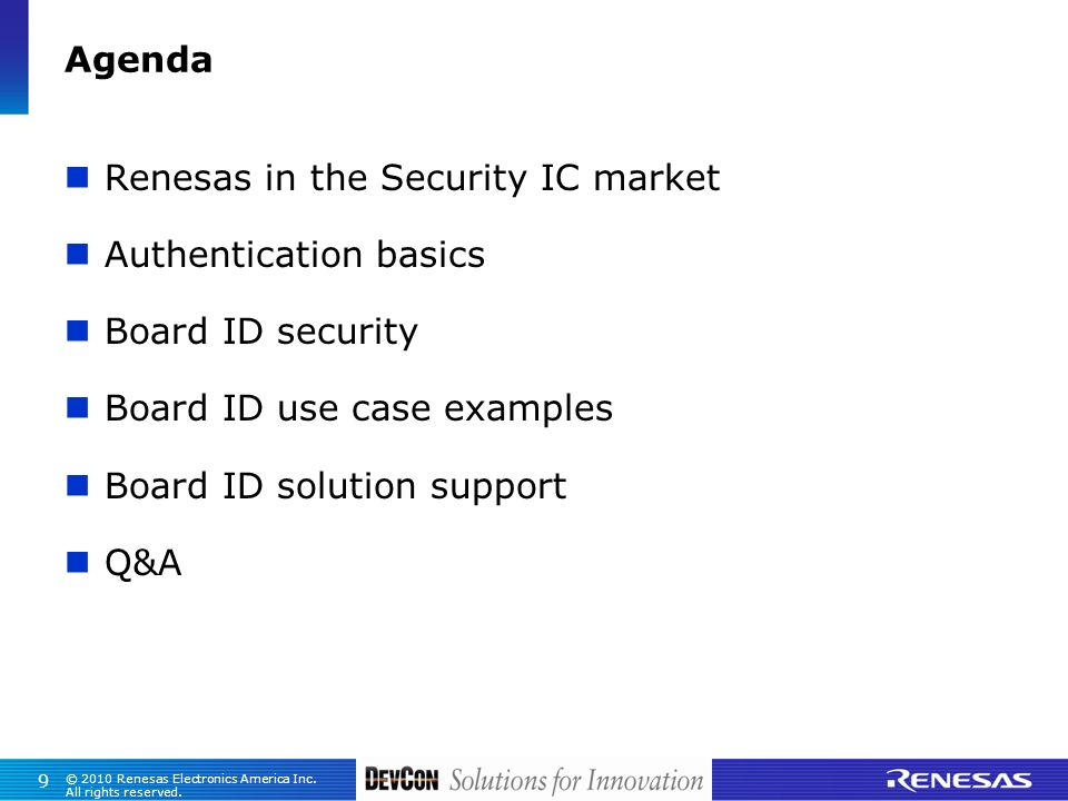 Renesas in the Security IC market Authentication basics