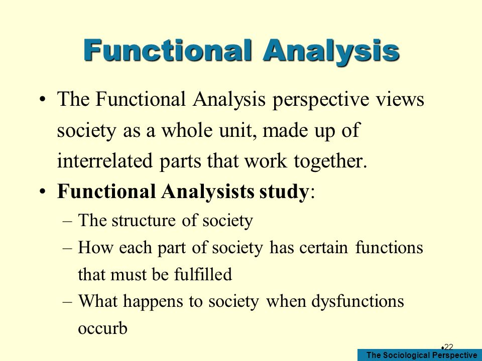 Functional Analysis The Functional Analysis perspective views society as a whole unit, made up of interrelated parts that work together.