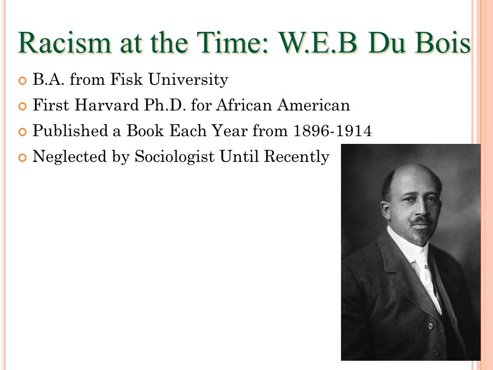 Racism at the Time: W.E.B Du Bois