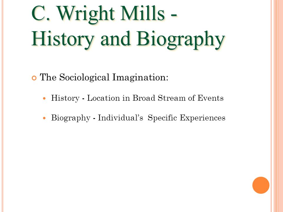 C. Wright Mills - History and Biography The Sociological Imagination:
