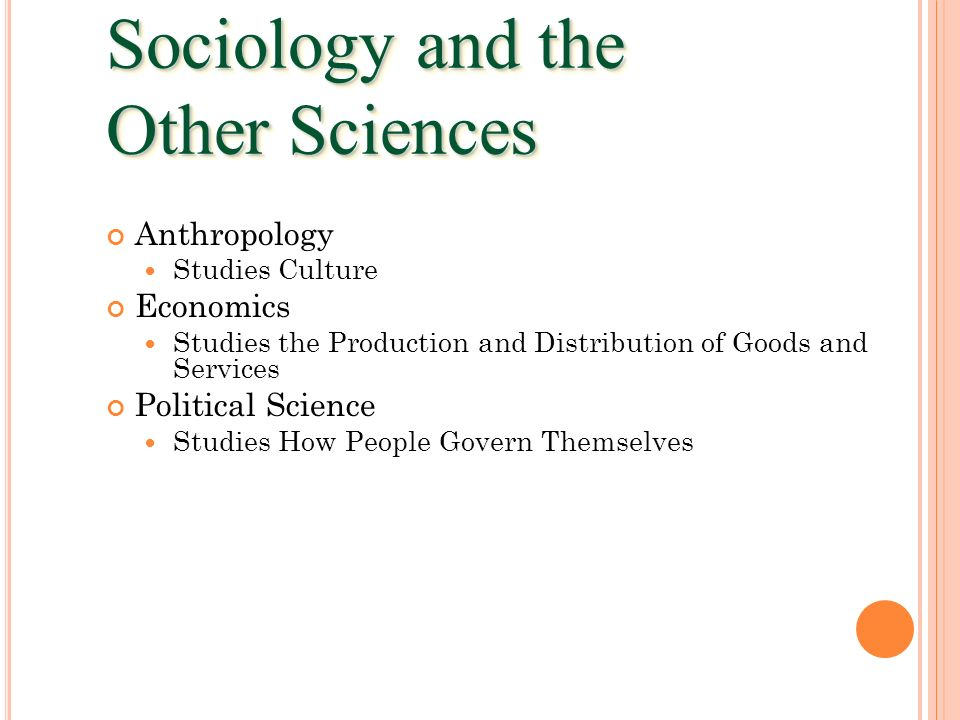 Sociology and the Other Sciences