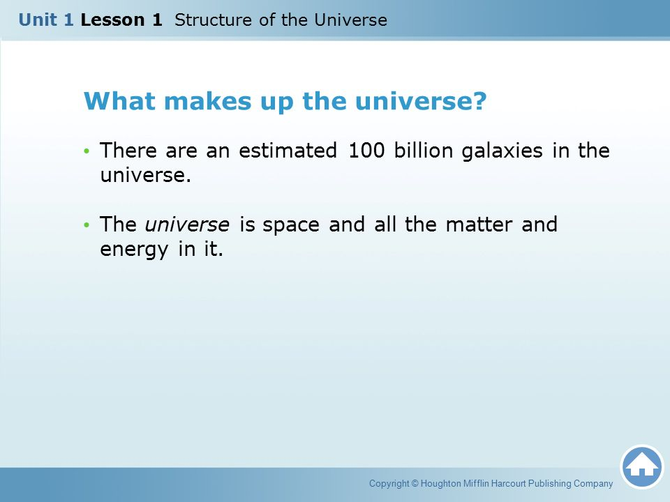Unit 1 Lesson Structure Of The Universe Ppt Download. What Makes Up The Universe. Middle School. Universe Worksheet Middle School At Mspartners.co